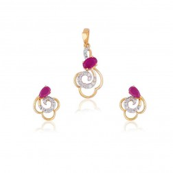 Swara Beautiful Stuning Diamond Pendant Set